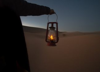 Kerosene lamp in the desert