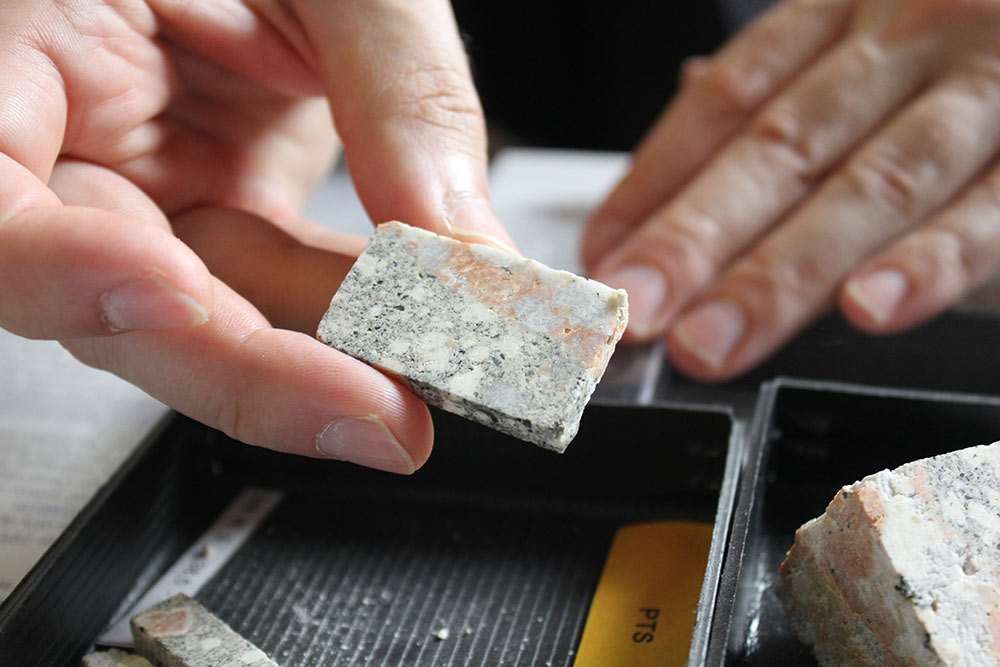 A rock sample from the Chicxulub impact crater